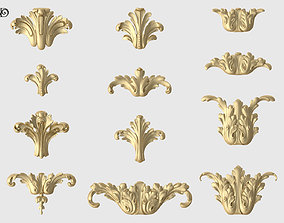 Vertical Acanthus Leaves Set 3D print model