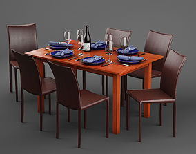 Scandanivian dining table set design 3D model