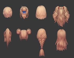 3D model hair hair style girl short hair long hair dye