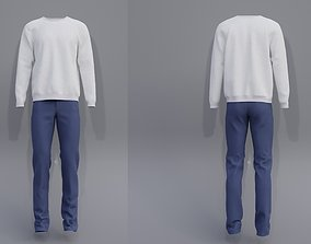 Male outfit - sweatshirt and jeans 3D model