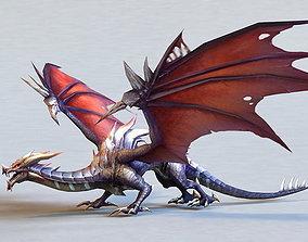 Dark Animated Low-Poly Dragon 3D model