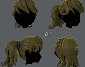 3D Hair style for girl V02 VR / AR ready
