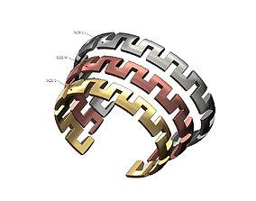 Square chinky greeek key cuff bracelets 3D print model