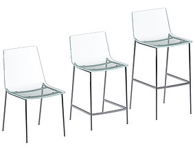 3D model CB2 Chiaro Clear Acrylic Chair and Stool