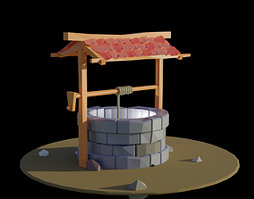 Low Poly Well 3d modeling