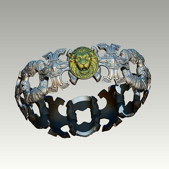 Handmade Carved Pattern Silver Gold Man Woman Jewel Bracelet Roar Lion Head