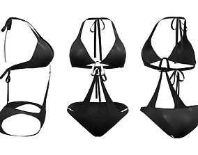 Chest Buckle Tie Swimsuit 3D model