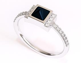 Square Black Diamond Ring 3D print model