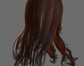 Woman hairstyle 3D asset low-poly body