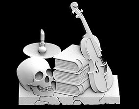 3D print model Violin and books