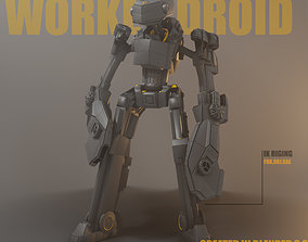 3D model Rigged worker droid robot