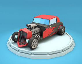 Cartoon Hot Rod Racing Car 3D model