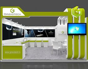 Exhibition stall 3d model 5x4 mtr 1 side open Gravotech 1