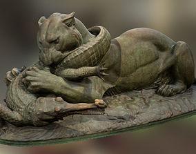 Tiger devouring a gavial 3D model