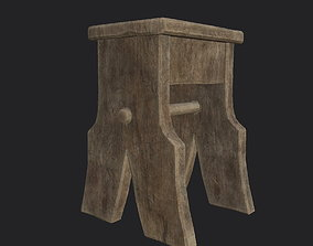 3D model game-ready rude Wooden Stool