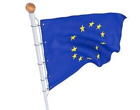 3D Flag European Union animated