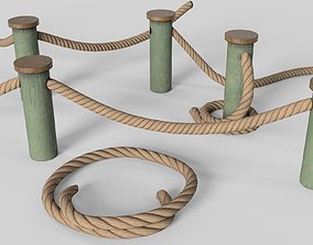 3D asset Rope fences - PBR Game-Ready