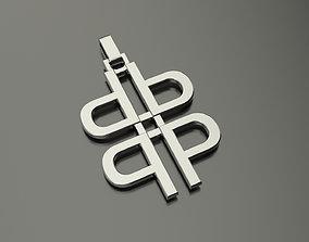 Pinwheel Letter P Necklace 3D print model