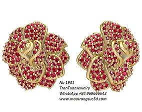 3D printable model 1931 Luxury Diamond Rose Earrings