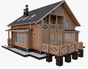 3D Round Bar Timber House