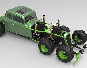 Hot rod six-wheeled 3D model