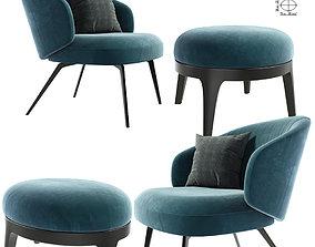 Lema Armchair With Eaton Poufs 3D
