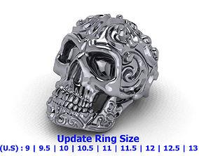 3D print model ring skull update ring size