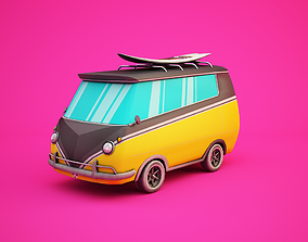 3D model realtime Surfer Van with Cartoon Style Option