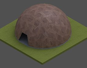 3D asset Dome -Wood Triangulated with entry opening and
