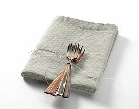Tied Forks on Towel 3D