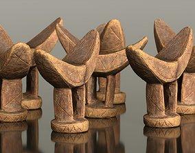 3D asset Headrest Africa Wood Furniture Prop 6