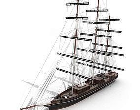 Wood Antique Sailing Boat 3D model