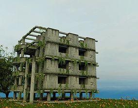 DAMAGED OLD ABANDONED BUILDING POST 3D model