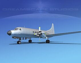 3D Convair CV-580 Bare Metal Cargo