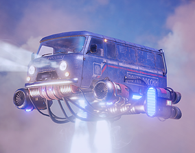 Soviet flying car 3D asset animated