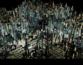 3D model Stylized Futuristic Buildings