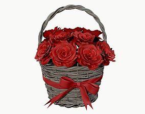 3D bouquet of red roses in wicker basket