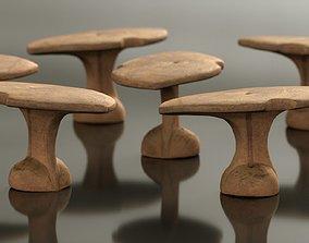 Headrest Africa Wood Furniture Prop 33 3D asset