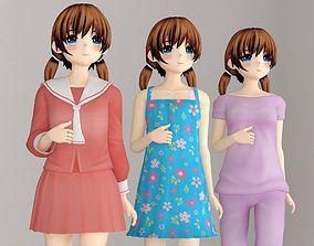 Keiko anime girl pose 1 3D model