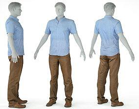 3D asset Male Casual Outfit 34 Shirt Pants Footwear