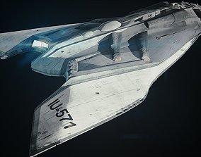 Spaceship medium poly 3D