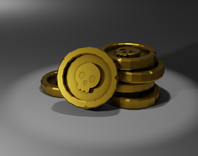 Low Poly Skull Coin 3D model