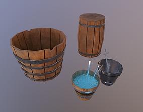 Buckets 3D asset