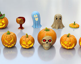 3D model Halloween Pumpkins Pack-middle poly-