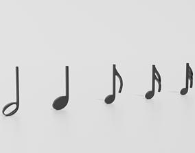 Cartoon Musical Notes Pack 01 3D