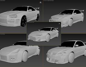 3D model Pack 12 cars Subaru Nissan Mitsubishi Toyota 2
