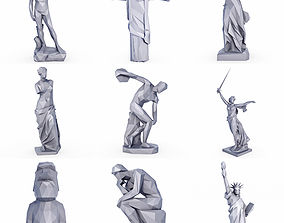 3D asset Popular Sculptures and Statue SET Low Poly