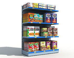 3D Supermarket Shelves Cereals