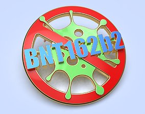 pin badge of a person vaccinated 3D printable model 1