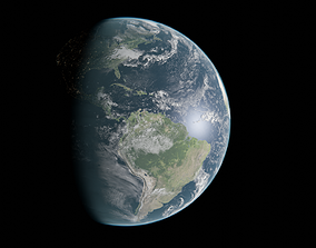 earth 16k with night lights 3D
